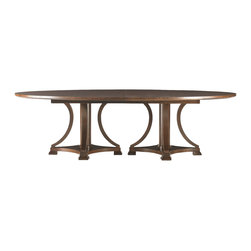Hickory White - Hickory White Oval Dining Table 650-11 - Maple solids with walnut veneers, no distressing.