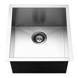 Houzer - Houzer Contempo Zero Radius Undermount Prep Sink (CTR-1700) - Houzer CTR-1700 Contempo Zero Radius Undermount Prep Sink, Brushed Stainless Steel