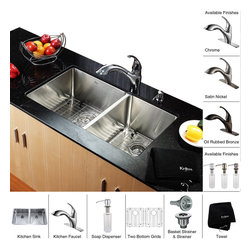 Kraus - Kraus 33 inch Undermount Double Bowl Stainless Steel Kitchen Sink with Chrome Ki - *Add an elegant touch to your kitchen with unique Kraus kitchen combo