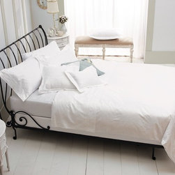 Paris Sleigh Bed, Open - I like wrought iron beds with crisp white bedding.
