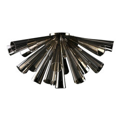 Viz Glass, Inc. - Flute Chandelier, Metallic - Create a bold, polished look in your dining room using the dramatic Flute Chandelier. This innovative piece is handblown from Italian Glass and features a cluster of smooth metallic flutes. Variations may occur in individual pieces. Includes ten 25 watt G9 bulbs and a flush mount. UL listed. Hardwire; professional installation recommended.