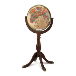 Replogle - Sherbrooke II Floor World Globe - The Sherbrooke II floor globe offers an elegant solid-wood stand with cherry finish and brass claw feet that enhance the rich parchment ocean of this classic raised relief globe.