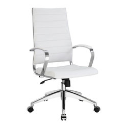 Modway - Modway EEI-272 Jive Highback Office Chair in White - Steer the course and sail to an island called style. Jive is the result of chair makers who decided to design a chair that just works. Functionally, it is a pleasure to sit in as the durable ribbed vinyl back provides natural posture support. The seat cushion and arms are padded, while the form of the armrests were intended maximize a 90 degree wrist angling for typing. Jive's chrome-plated aluminum base is fitted with five dual-wheel casters, while a tension knob and tilt lock allow for easy back position adjustments. This is a chair made for the modern office, and a welcome embodiment of the spirit of progress and determination.