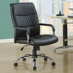 Monarch - Black Leather-Look Office Chair - This gorgeous contemporary office chair will add both style and comfort to your home office or study area. The plush high chair back and seat are covered in rich black faux leather for comfortable seating, framed by sleek curved padded metal arms for a modern look. An adjustable height gas lift allows you to customize the fit, with casters below the silver tone base for easy mobility. Create a warm and stylish home office or homework area with this casual piece.