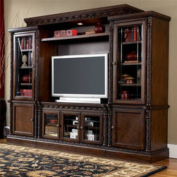 Millwood by ivgStores - TV Stand Entertainment Center w Piers & Bridg - Constructed with select veneers, hardwood solids and furniture grade resin. Dark casual finish. Dark colored hardware. Lighted bridge. Decorative V-grove glass doors. Adjustable shelves.. Color: Dark Brown. TV Stand: 51 in. W x 21 in. D x 28 in. H. Right Pier: 27 in. L x 21 in. W x 75 in. H (176 lbs). Left Pier: 27 in. L x 21 in. W x 75 in. H (176 lbs). Narrow Bridge: 74 in. L x 20 in. W x 52 in. H (82 lbs)