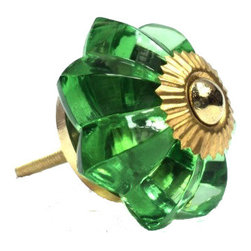 Modelli Creations - Glass Flower Knob, Green - To have and to hold: You'll love that this colorful green glass flower knob marries well with just about any vintage style. And being ultra sturdy, you know it'll be dependable from this day forward.