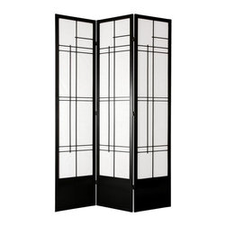 Oriental Unlimited - 7 ft. Tall Eudes Shoji Screen w Kick Plate (4 Panels / Black) - Finish: 4 Panels / BlackThis room divider has a black finish, a spruce frame and durable rice paper panels. The screen is extra tall, has a kick plate and a light filtering design. The screen has a black, Asian inspired, decorative design with geometric lines and brass hinges that can be moved in two directions. Screens may vary slightly in color. Includes a kick plate to protect the shade from scuffs. Difficult to find in the USA. Great for rooms with high ceilings for a more substantial feeling or where greater privacy is preferred. Provides complete privacy. Shade is strong. Fiber reinforced pressed pulp rice paper allows diffused light. Crafted from durable and lightweight Scandinavian Spruce. Panels are constructed using Asian style mortise and tenon joinery. Lacquered brass. 2-Way hinges mean you can bend the panels in either direction. Black finish. Assembly required. Each panel: 17.5 in. W x .75 in. D x 83.5 in. H. 3 Panels: 53 in. wide (flat). Approximately 45 in. wide (folded to stand upright)