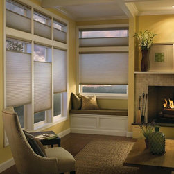 Hunter Douglas - The original single- and double-honeycomb Duette® shades come in multiple cell sizes, a horizontal or Vertiglide™ vertical orientation, and a range of light-control options from sheer to opaque.