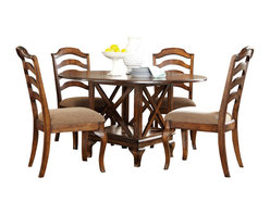 Standard Furniture - Standard Furniture Crossroad 5-Piece Round Dining Room Set in Mid-Tone Brown - Crossroads captures the charm and elegance of Country French styling in a new, cleanly tailored interpretation.