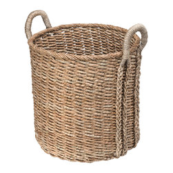 Kouboo - Large Round Sea Grass Basket - This hand woven storage basket makes for a pretty accent piece. It holds sizeable objects of any kind that need to be stowed away. The sturdy handles make carrying the basket from room to room easy.1 year limited warranty.