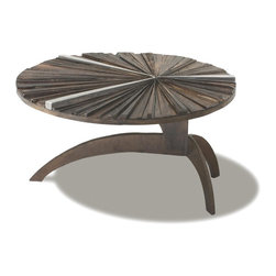 Ferpas Coffee Table - Round - The first of a series of lines designed to maximize our commitment with environmental sustainability, the Rotsen Ferpas Collection uses scraps of harwood collected from our own manufacturing process, when making larger furniture items such as cocktail tables, dining tables and consoles.