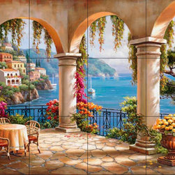 The Tile Mural Store (USA) - Tile Mural - Terrace Arch Ii - Kitchen Backsplash Ideas - This beautiful artwork by Sung Kim has been digitally reproduced for tiles and depicts a terrace overlooking the sea.  Waterview tile murals are great as part of your kitchen backsplash tile project or your tub and shower surround bathroom tile project. Water view images on tiles such as tiles with beach scenes and Mediterranean scenes on tiles Tuscan tile scenes add a unique element to your tiling project and are a great kitchen backsplash idea. Use one or two of our landscape tile murals for a wall tile project in any room in your home for your wall tile project.