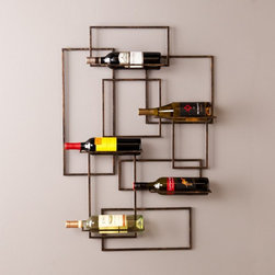 Southern Enterprises - Southern Enterprises Liselle Wall Mount Wine Sculpture Multicolor - HN8736-1 - Shop for Wine Bottle Holders and Racks from Hayneedle.com! Functional modern art at its finest the Southern Enterprises Liselle Wall Mount Wine Sculpture dresses your wall in geometric beauty while keeping four wine bottles at the ready. This space-saving wine storage wall sculpture has a modern geometric design of interconnecting rectangles in a burnished metal finish. Clean lines and an open design draw attention to your fine labels. The four bottle holders fold in when not in use - tidy! This contemporary wall-mount wine rack is an ideal gift for wine lovers and those who appreciate style. Additional Features:Interior dimensions (ea.): 9.5W x 2.75D in.Approx. weight: 9.5 lbs.Each bottle holder supports up to 5 lbs.About SEI (Southern Enterprises Inc.)This item is manufactured by Southern Enterprises or SEI. Southern Enterprises is a wholesale furniture accessory company based in Dallas Texas. Founded in 1976 SEI offers innovative designs exceptional customer service and fast shipping from its main Dallas location. It provides quality products ranging from dinettes to home office and more. SEI is constantly evolving processes to ensure that you receive top-quality furniture with easy-to-follow instruction sheets. SEI stands behind its products and service with utmost confidence.