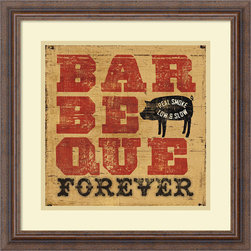 Amanti Art - Pela Studio 'Barbeque Forever' Framed Art Print 18 x 18-inch - Whether it is chicken or pork, brisket or burgers - barbeque is your calling.  Celebrate with this Barbeque Forever framed print by Pela Studio.