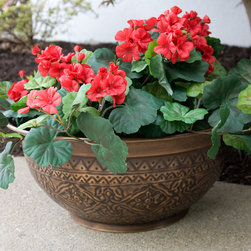 "19"" Floral Copper Patio Planter - Antique Copper - Handcrafted of solid copper, this Floral Copper Patio Planter will look great around your deck, patio or entryway."