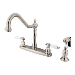 "Kingston Brass - 8"" Center Kitchen Faucet with Brass Sprayer - Victorian style Two Handle Deck Mount, 4 hole Sink application, 8"" Widespread, Solid Brass Side Spray, Fabricated from solid brass material for durability and reliability, Premium color finish resist tarnishing and corrosion, 360 degree turn swivel spout, 1/4 turn On/Off water control mechanism, 1/2"" - 14 NPS male threaded inlets, Duraseal washerless valve, 2.2 GPM (8.3 LPM) Max at 60 PSI, Integrated removable aerator, 9-1/2"" spout reach from faucet body, 11"" overall height, Ten Year Limited Warranty to the original consumer to be free from defects in material and finish.; Brass Sprayer Included; Brushed Nickel Finish; 1/4 Turn Washerless Cartridge; Porcelain Lever Handle; 4 Holes Installation with an 8-1/2"" spout reach; Material: Brass; Finish: Satin Nickel Finish; Collection: Heritage"