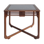 Golden Lotus - Chinese Antique Hand Carving Square Game Table - This is a Chinese antique square table which is made of elm wood.  The top was made from carving panel, and a piece of glass cover it.  Right now, it can be used as game table or tea table.