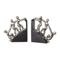 Uttermost - Uttermost Helping Hand Nickel Bookends, Set of 2 20494 - Features a nickel, plated finish with matte black base.