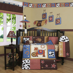 """Geenny - Boutique Horse Cowboy 13 Piece Crib Bedding Set - This listing is for a 13 piece beautiful Geenny brand new crib set with all the bundle you will need. This set is made to fit all standard cribs and toddler beds. The whole set comes with 10 pieces plus 3 new wall art decor hangings, which comes out as a total 13 piece bundle. The set is made by Geenny Designs, well known as Nursery Series Products Designs. All bundled pieces are in a brand new zippered, handled carrying bag. Dress up and decorate your baby's room with this beautiful 13 piece crib bedding set. Features: -Set includes: Crib quilt, two valances, skirt, crib sheet, bumper, diaper stacker, toy bag, two pillows, three wall hangings. -Material: 65 / 35 Percent of Polyester / Cotton. -Crib quilt: 45"""" H x 36"""" W. -Crib bumper: 10"""" W x 158"""" D. -Fitted crib sheet: 52"""" H x 28"""" W. -Window valances: 16"""" H x 58"""" W. -Crib skirt: 28"""" H x 52"""" W. -Toy bag: 20"""" H x 14"""" W. -Decorative accent pillows: 10"""" H x 10"""" W. -Machine washable."""