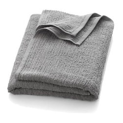 Ribbed Grey Bath Sheet - Broad borders of vertical ribbing with flat banded edges finish our spa-style grey towels in absorbent 500-gram cotton.