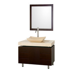 "Wyndham Collection - Wyndham Collection 36"" Malibu Single Sink Vanity in Espresso w/ Ivory Marble Top - The Malibu 36"" Bathroom Vanity is a featured item from the Wyndham Collection Designer Series by Christopher Grubb. The beautiful floating counter and clean lines of this vanity are quite stunning, with the legs appearing to pierce right through the cabinet to the floor, yet it's surprisingly affordable. Each counter is custom made to order."