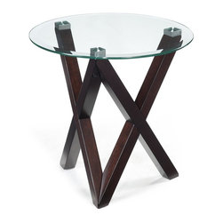Magnussen Furniture - Visto Round End Table - Constructed from Hardwood Solids, Square aluminum pucks and glass. All pieces feature 10mm cleat tempered glass with 1in. bevel on top. All pieces feature hardwood solid legs with V-shape. All pieces feature exposed metal end-caps. Merlot Finish. Hardwood Solids, Square aluminum pucks and glass. Merlot Finish. 1 Year Limited Warranty. 26 in. W x 26 in. D x 24 in. H (52 lbs.)What do you get when groovy and mod grow up? The Visio group. This post- Post-Modern accent collection strips function down to its most elemental form, and achieves luxury as an unexpected result. In Merlot a hardwood with exposed metal end-caps and tempered, with beveled glass.