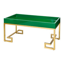 Worlds away - Worlds Away Conrad Green Tray with Greek Key Gold Leafed base - Like a stunning emerald ring, this gem of a coffee table sits gracefully on its gold-leafed iron Greek key base. The emerald green cocktail table tray top is a modern delight and will look simply divine with colorful Daiquiris, Cosmos or Margaritas on top.