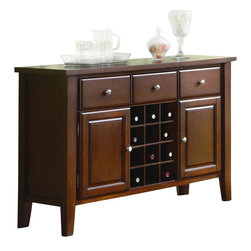Coaster - Coaster Rodeo Server with Wine Rack in Romantic Cherry Finish - Coaster - Buffet Tables & Sideboards - 102245 -