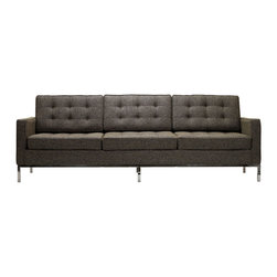 "IFN Modern - Florence Knoll Style Sofa-Oatmeal Tweed - Product DimensionsOverall Dimensions: 31.5"" H x 89\"" W x 31.5\"" DTop grain leather on all parts 