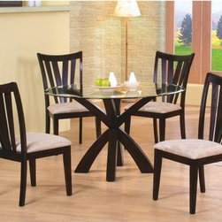 """Wildon Home � - Delta 5 Piece Dining Set - This sophisticated casual dining table and chair set will look stunning in your home. The elegant pedestal table base features multiple crossing supports, in a rich Cappuccino finish that is sure to complement your home decor. The smooth beveled edge glass table top above adds just the right amount of chic style, for a casual contemporary look that you will love. Matching dining side chairs feature sleek vertical slat backs and seats covered in soft tan microfiber, creating a luxurious dining set that will transform your space. Features: -Includes 1 dining table and set comes standard with 4 chairs. -Contemporary style. -Deep Cappuccino wood finish. -Clean lines. -Smooth straight edged wood tops or sleek round beveled edge glass tops. - With cushion side chair. Dimensions: -Table Base and Round Glass Top: 30"""" H x 48"""" W x 48"""" D. -Cushion Side Chair: 38.5"""" H x 19.5"""" W x 23"""" D."""