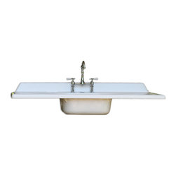 Consigned 1940's White Cast Iron Double Drainboard Farm Sink 5 ft New Hardware - Vintage 1940's White Cast Iron Double Drainboard Farm Sink 5 ft New Hardware Refinished New Faucet & Drain