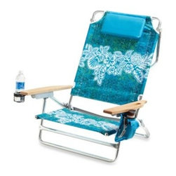 Tommy Bahama - Big Kahuna Beach Chair - This rainbow striped polyester fabric beach chair has wood arms, an aluminum frame, head rest and storage pouch on the arm. Recline is adjustable.