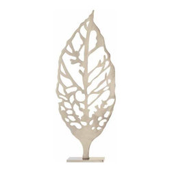 "Arteriors - Arteriors Home - Hyde Large Laser Cut Leaf Sculpture - 6394 - Organically inspired laser cut single leaf sculpture in polished nickel finish. Also available in small size vintage brass finish. Features: Hyde Collection Leaf SculpturePolished nickel FinishAlso available in small size vintage brass finish Some Assembly Required. Dimensions: W 12"" x D 5"" x H 30"""