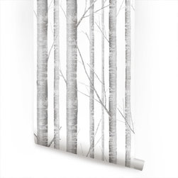 Accentuwall - Birch Tree - Birch Tree peel & stick fabric wallpaper. This re-positionable wallpaper is designed and made in our studios in New Jersey. The designs are printed onto an adhesive backed fabric that can be removed, repositioned and reused over and over again. They do not leave any residue on your walls and are ideal for DIY room makeovers without the mess and headaches of traditional wallpaper.