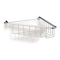 StilHaus - Chrome Wire Corner Shower Basket - Wall mounted contemporary style corner soap tray.