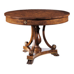"""Inviting Home - Biedermeier Center Table - Biedermeier style round wood table with olive and ash burl veneer walnut trim antiqued brass accents and carved claw feet; 45-1/4""""W x 30-1/2""""H hand-made in Italy Biedermeier style round wood center table with olive and ash burl veneer. Biedermeier center table has walnut trim antiqued brass accents and carved claw feet. This center table is hand made in Italy."""