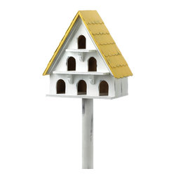KOOLEKOO - Cape Cod Bird Condo Birdhouse - Summer or winter, this charming Cape Cod cottage provides a welcome shelter from the elements! Plenty of portholes give multiple entrance ways for a feathered friend to settle in and set up housekeeping.