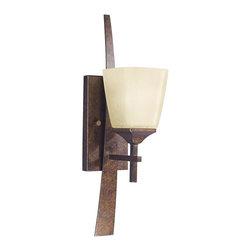 KICHLER - KICHLER Souldern Transitional Wall Sconce X-ZBM6106 - From the Souldern Collection, this Kichler Lighting wall sconce features a unique blend of clean lines, modern details and traditional influencing. The warm tones of the Marbled Bronze finish and single umber etched glass shade complete the look. U.L. listed for damp locations. May be installed as an up or down light.
