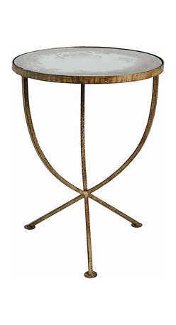 Arteriors - Sojourn Accent Table - Add this handsome side table to enhance your favorite traditional setting. Its simply elegant iron frame is finished in burnished gold and supports a surface of antique mirror.