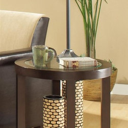 Homelegance - Brussel Round End Table - Contemporary style. Glass top. One shelf. Espresso finish. 23 in. Dia. x 22.5 in. H