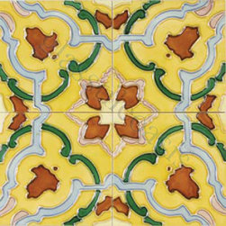 "Glass Tile Oasis - Durazno 6"" x 6"" Yellow 6"" x 6"" Deco Tiles Glossy Ceramic - Tile Size:  6"" x 6""        PICTURE SHOWN IS 4 TILES TOGETHER   Sold by the piece       -  All ceramic tiles are hand painted. Glazed thickness will vary from tile to tile  resulting in color variation. Hand-Painted Ceramic tiles will craze and crackle over time  which is intentional and a desired effect."