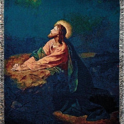 Manual - `Garden of Gethsemane` Christian Tapestry Blanket 50 Inch X 60 Inch - This multicolored woven tapestry throw blanket is a wonderful addition to any home. Made of cotton, the blanket measures 50 inches wide, 60 inches long, and has approximately 1 1/2 inches of fringe around the border. The blanket features Jesus praying at the Garden of Gethesmane the day before his crucifixion. Care instructions are to machine wash in cold water on a delicate cycle, tumble dry on low heat, wash with dark colors separately, and do not bleach. This comfy blanket makes a great gift for friends and family.
