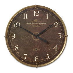 "Uttermost - Uttermost Hotel Du Vieux Quartier 30"" Wall Clock 06044 - Weathered, laminated clock face with a heavy crackled look and cast brass outer details. Requires 1-C battery."