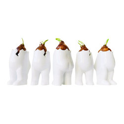 ESW² - Set Of Five Tushiez Winter Greens Planters - White Glossy - This is a set of 5 Tushiez figurines in White Glossy