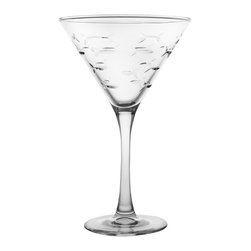 Rolf Glass - School of Fish Martini, Clear, 7.5x4.75, Glass - Every now and again we all swim against the current. With this artfully depicted school of fish design, beautifully etched and polished fish swim together, save for one little guy headed in the opposite direction. A delightful nod to individuality and the unique spirit inside all of us.  Made in USA.