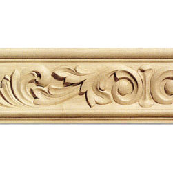 "Inviting Home - Naples Frieze Wood Molding - maple wood (C2F/fa5cr) - Solid hard maple wood frieze molding 5""H x 1-1/4""P x 8'00""L Hand Carved Frieze Molding profile milled from high grade kiln dried American hardwood available in hard maple oak and cherry. High relief ornamental design is hand carved into the molding. Wood molding is sold unfinished and can be easily stained painted or glazed. The installation of the wood molding should be treated the same manner as you would treat any wood molding: all molding should be kept in a clean and dry environment away from excessive moisture. Acclimate wooden moldings for 5-7 days. When installing wood moldings it is recommended to nail molding securely to studs; pre-drill when necessary and glue all mitered corners for maximum support."