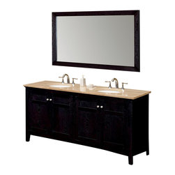 Fresca - Fresca Thomson Traditional Double Sink Bathroom Vanity w/ Travertine Countertop - Enjoy quality time side by side at your traditional double sink bathroom vanity. Floss, brush and comb in style in front of the rich matte black, solid oak frame, topped by a stunning travertine stone countertop in sandy tan. There's plenty of storage space in this high-end piece.