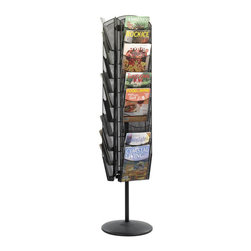 "Safco - Safco Onyx Rotating Mesh Magazine Stand - Safco - Magazine Racks - 5577BL - Leaves the room free of magazine mayhem. Ideal for reception areas or waiting rooms this contemporary three-sided rack rotates 360 degrees for total access to all literature. Features 1"" capacity pockets. Sleek steel mesh construction."