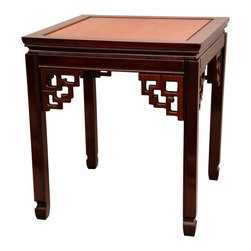 Oriental Unlimited - 2-Tone Rosewood Square Ming Table - Beautiful flexible Oriental decorative accent. Display in matched pairs as a unique, alternative coffee table. Fine quality kiln dried solid Rosewood. Elegant 2 tone Honey and Cherry stain finish. 20 in. W x 20 in. D x 22 in. H (17.5 lbs.)