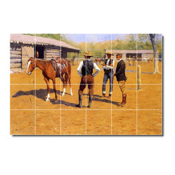 Picture-Tiles, LLC - Buying Polo Ponies In The West Tile Mural By Frederic Remington - * MURAL SIZE: 32x48 inch tile mural using (24) 8x8 ceramic tiles-satin finish.